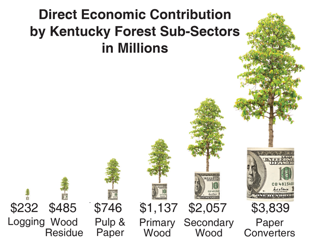 Direct Economic Contribution by KY Forest Sub-sectors