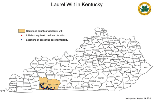 Laurel Wilt Map as of August2019