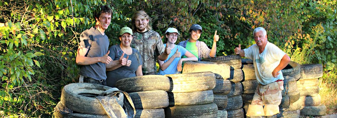 The Forestry GSA worked with UK Forestry alumni Barth J. to help clean up the Licking River. They pulled 50 tires out of the water and paddled a 10 mile section.