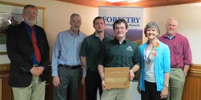 First recipient of the Forestry Alumni Scholarship, along with members of the Forestry Alumni Scholarship Committee.