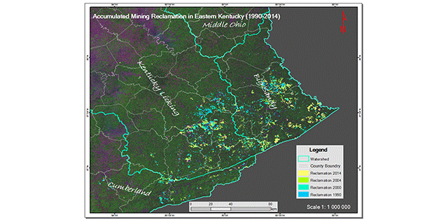Map of accumulated mining reclamation in Eastern Kentucky