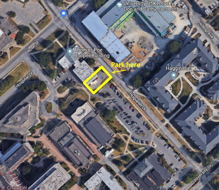 Map to parking at the Thomas Poe Cooper Building