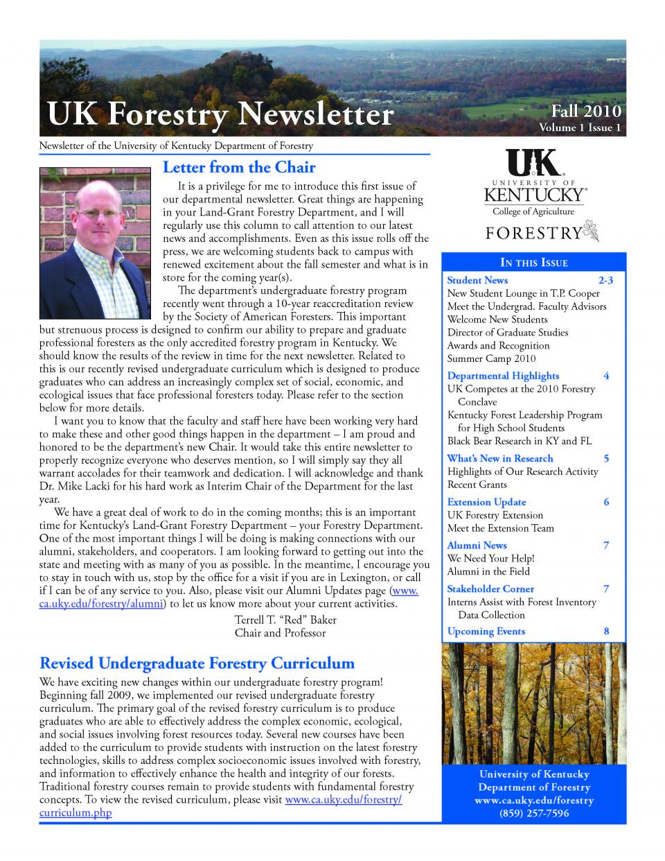 Cover page of the Department Newsletter - Fall 2010