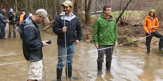 Spring field semester students learn about forest hydrology and watershed management.