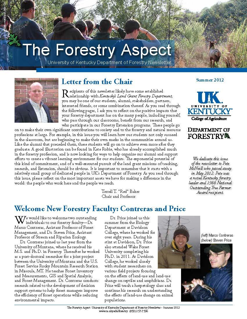 Cover page of the Department Newsletter - Summer 2012