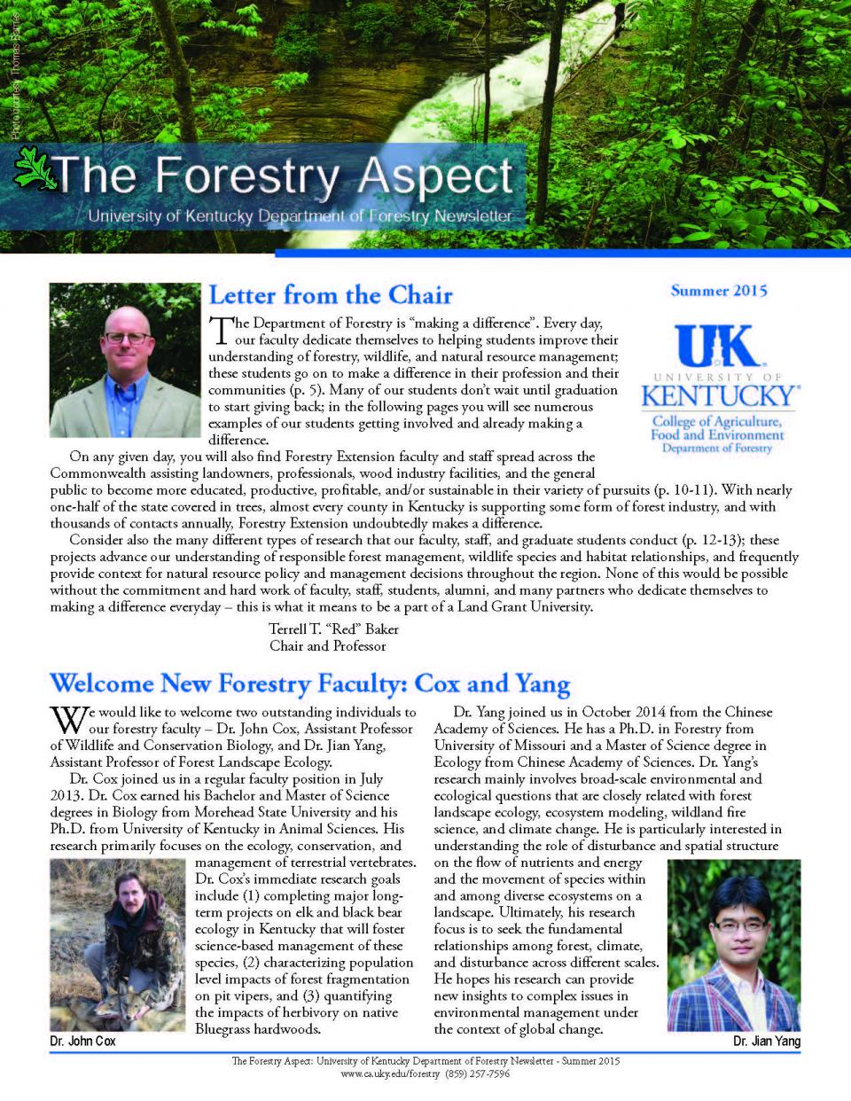 Cover page of the Department Newsletter - Summer 2015