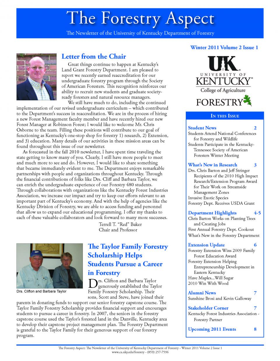 Cover page of the Department Newsletter - Winter 2011